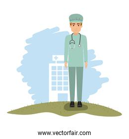 color landscape with hospital of background with surgeon in closeup