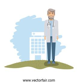 color landscape with hospital of background and doctor with stethoscope