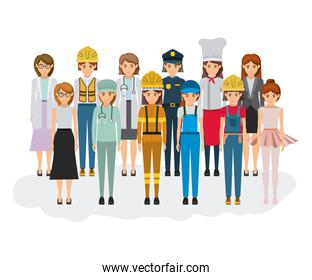 white background with big group of women of different professions