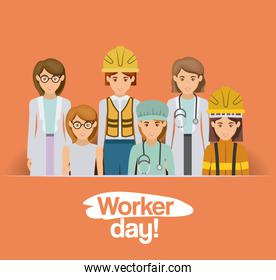 colorful card with group of female workers on worker day
