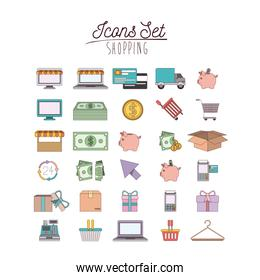 colorful poster with shopping icon set