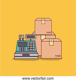 yellow background with cash register and packages