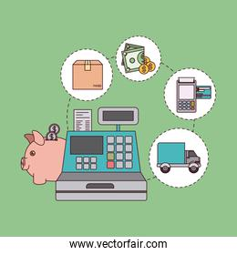 green color background with cash register with steps of buy payment and delivery