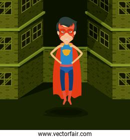 green background buildings brick facade with superhero man with costumes and flying
