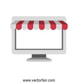 white background with desktop computer online store