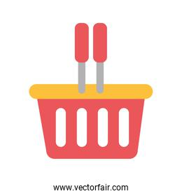 silhouette color with plastic shopping basket
