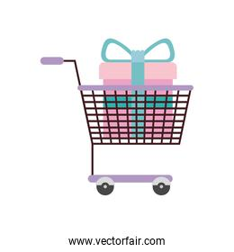 silhouette color with shopping cart purple and gift box