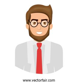 colorful portrait half body of man with beard and glasses and formal suit