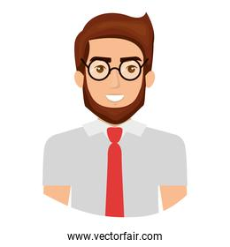colorful portrait half body of man with glasses and shirt with tie and bearded