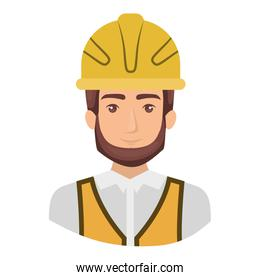 colorful portrait half body of male bearded architect with helmet