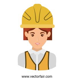 colorful portrait half body of female architect with helmet