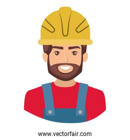 colorful portrait half body of bearded male worker with helmet