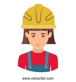 colorful portrait half body of female worker with helmet