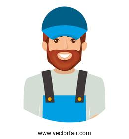 colorful portrait half body of bearded delivery man