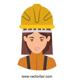 colorful portrait half body of female firefighter