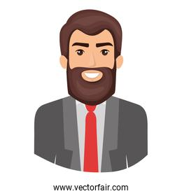 colorful portrait half body of man with beard and formal suit