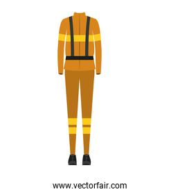 colorful silhouette with female uniform of firefighter