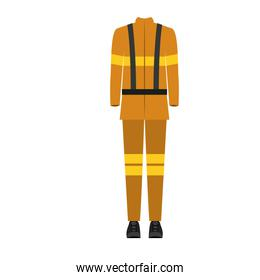 colorful silhouette with male uniform of firefighter
