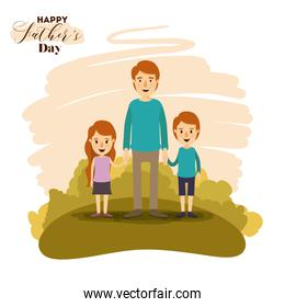 colorful card of landscape with dad and daugther and son holding hands on the fathers day