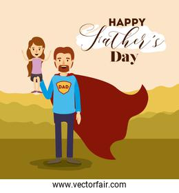 colorful card with dad super hero and daugther on the fathers day