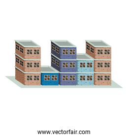 colorful image realistic set buildings with brick facade with different floors