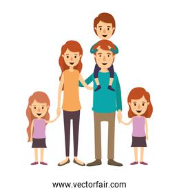 colorful image caricature big family parents with boy on his back and daugthers taken hands