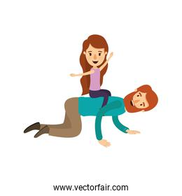 colorful image caricature bearded father with girl playing the horse on his back