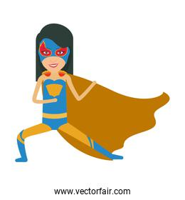 colorful silhouette with girl superhero in defensive pose and without contour