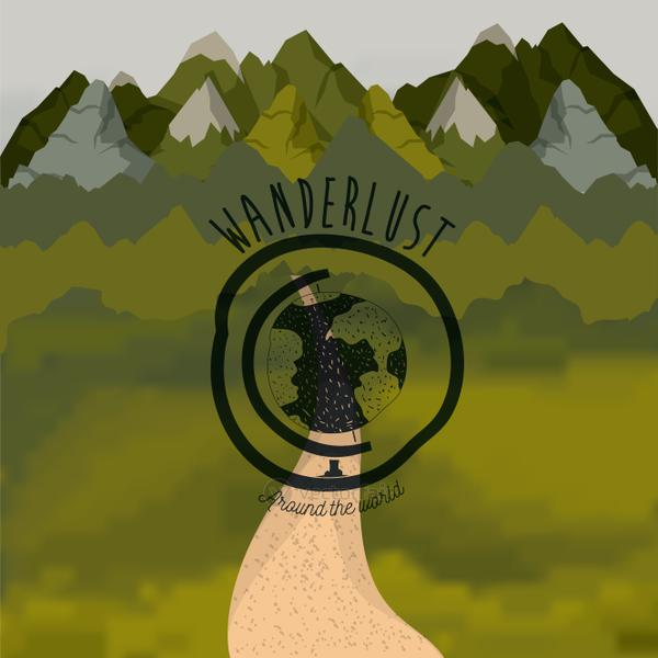 background forest scenary with road and wanderlust logo eart globe