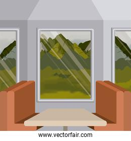 background interior train with a passenger compartment and landscape scenary outside