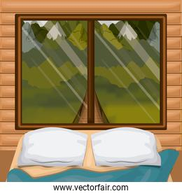 background interior wooden cabin with bed and forest scenary behind window