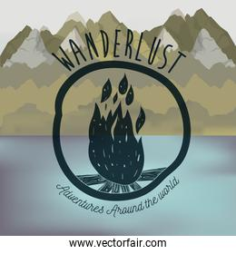 background blur forest scenary with lake and wanderlust logo wood fire