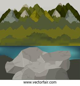 background outside forest scenary with lake and rocks