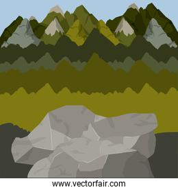 background outside forest scenary with high mountains and rocks