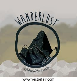 background blur forest scenary with wanderlust logo rocky mountains