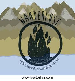 blur forest scenary with lake and wanderlust logo wood fire