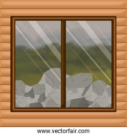 background interior wooden cabin with forest with rocks scenary behind window