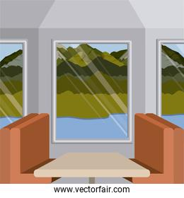 background interior train with a passenger compartment and landscape scenary outside with lake