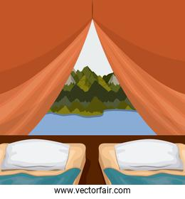 background interior camping tent with double pad and landscape scenary outside with lake