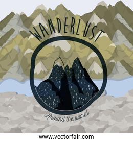 background blur mountains scenary with wanderlust logo rocky mountains