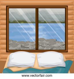 background interior wooden cabin with bed and blur river with rocks scenary behind window