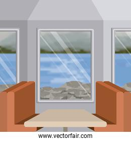 background interior train with a passenger compartment and blur lake scenary outside