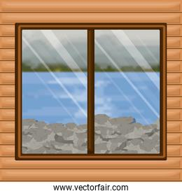 background interior wooden cabin with blur river with rocks scenary behind window
