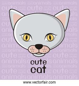 Illustration of a cute cat background vector illustration