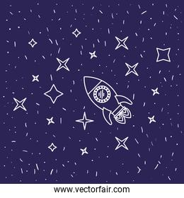 dark blue background with hand drawn flying rocket in starry sky