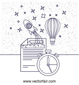 white background with blue silhouette of space rocket and hot air balloon and clock