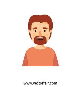 colorful caricature half body man with moustache and beard