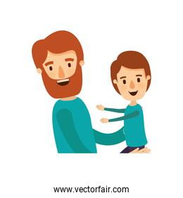colorful caricature half body bearded man carrying a child