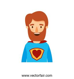colorful caricature half body super hero man with beard and moustache