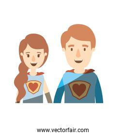 light color shading caricature half body young couple female and male super hero with heart symbol in uniform